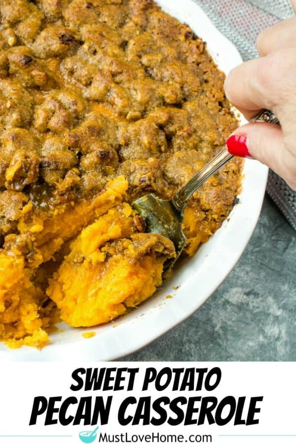 Whipped Sweet Potato Pecan Casserole - crunchy pecan topped sweet potatoes made deliciously light by sweetening with bananas.