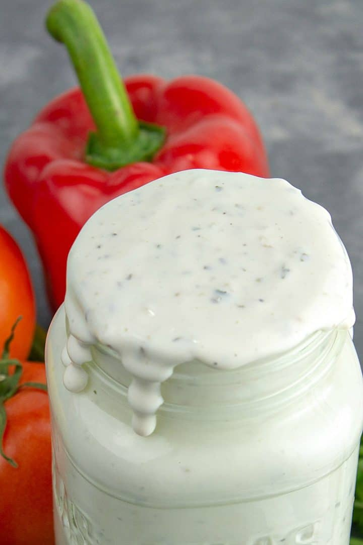 CREAMY, TANGY AND FULL OF HERBS, THIS EASY RANCH DRESSING IS SO TASTY YOU'LL NEVER WANT BOTTLED RANCH AGAIN!