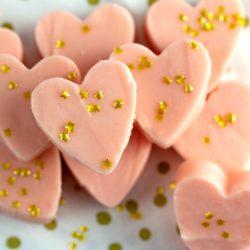 Valentine Glam White Chocolate Fudge with edible gold stars