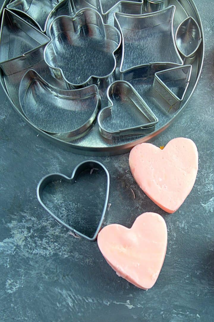 Mini cookie cutters in different shapes for cutting fudge into heart shapes