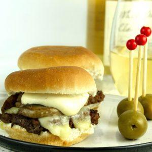Swiss Mushroom Burger Sliders with Dijon Sauce