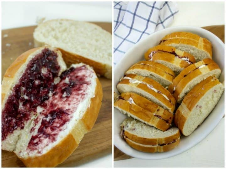 Bread spread with blackberry jam and cream cheese packed in white oval dish