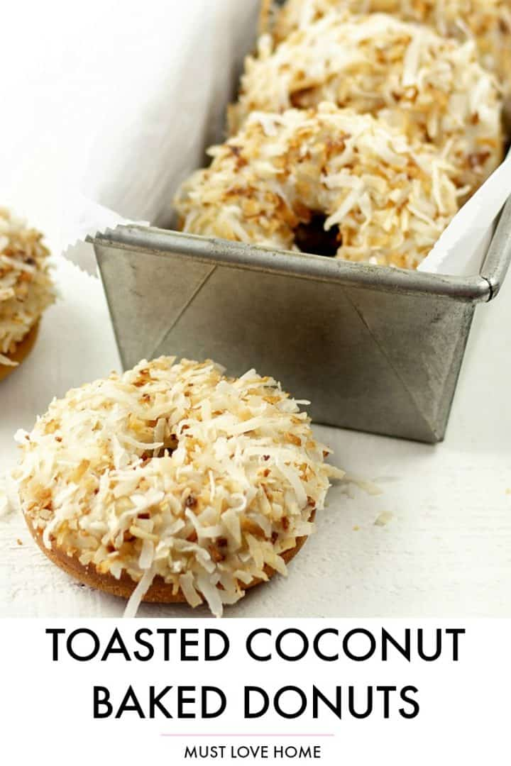 MAKE THESE SOFT AND NUTTY BAKED TOASTED COCONUT DONUTS FOR A BREAKFAST OR SNACK TREAT.