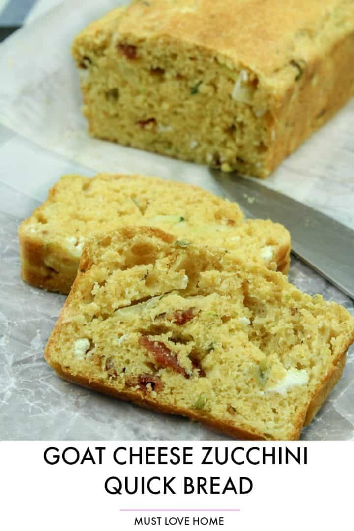 Make this easy  Goat Cheese Bacon Zucchini Quick Bread recipe as a savory side dish for any meal!f