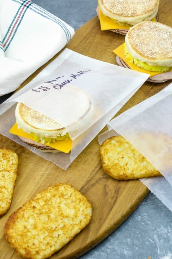 Easy make ahead freezer sandwiches are ready for breakfast on-the-go.