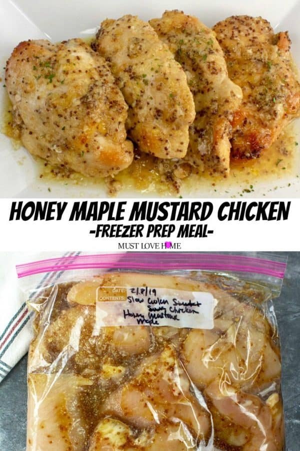 Baked up tender and juicy, this 4 ingredient Honey Maple Mustard Chicken freezer dump recipe is a flavorful family favorite.