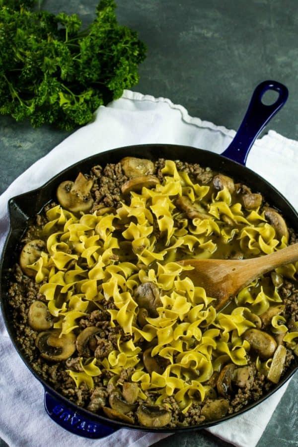 Egg noodle pasta for stroganoff
