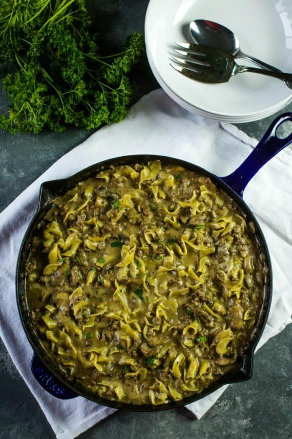 A weeknight dinner made easy! Everyone's favorite ground beef stroganoff dish!