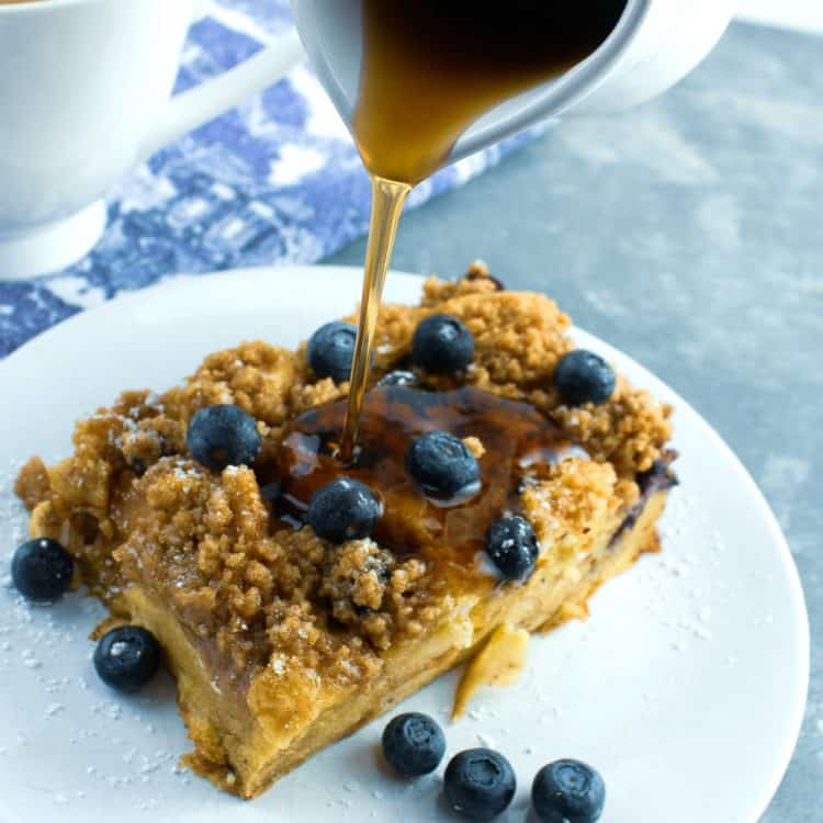 Prep this blueberry streusel french toast casserole the night before for an easy, next-day breakfast or brunch dish!