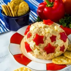 A creamy, ranch and sweet red pepper flavored cheese ball decorated for all your summer celebrations! Makes enough for a crowd!