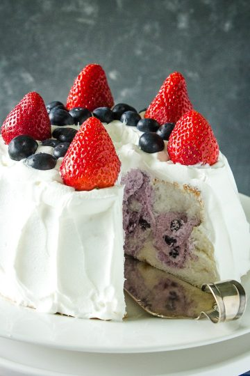 Whipped topping, blueberry pie filling and a store-bought angel food cake make this a quick and easy summer dessert.