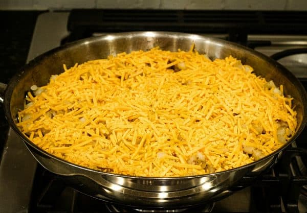 Cheesy topping for skillet dinner