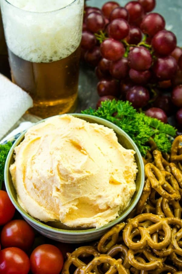 Easy Pub Style Beer Cheese Dip - Cream cheese, cheddar cheese, beer and spices make this game day or any occasion snack an all-time favorite!