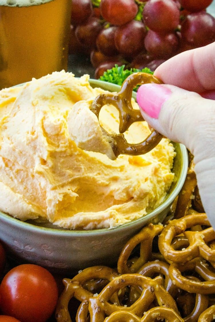 Easy Pub Style Beer Cheese Dip - served warm or cold, this cheddar cheese dip is a winner! It's great for Game Day's or any occasion when you want a creamy cheese snack.