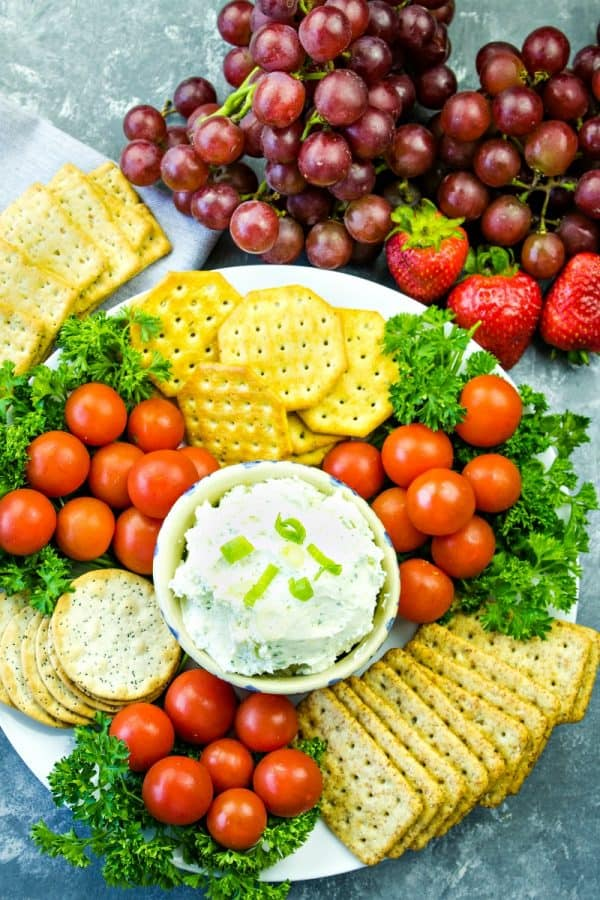 Make this full of flavor White Cheddar Herb Dip, with cheddar cheese, cream cheese, green onions and seasonings in only 5 minutes!