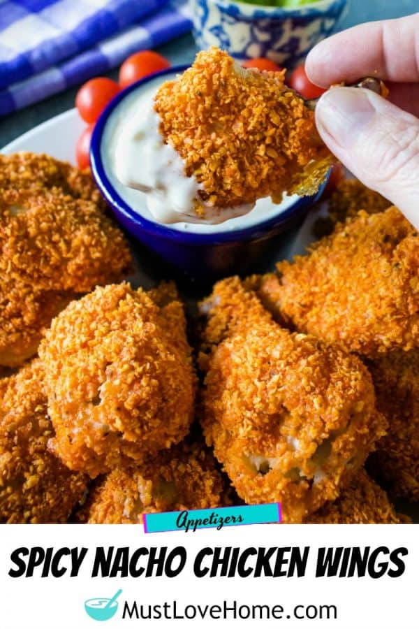 Chicken wings, coated with spicy tortilla chips and oven-baked to crispy perfection - these wings are a winner!