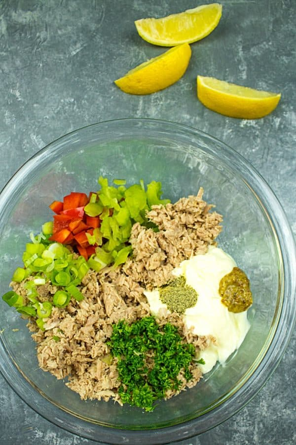 Tuna ingredients in glass mixing bowl