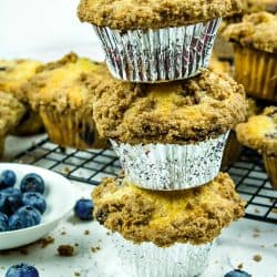 Big, Deli Style Blueberry Muffins. Struesel topped muffins that are easy to make!