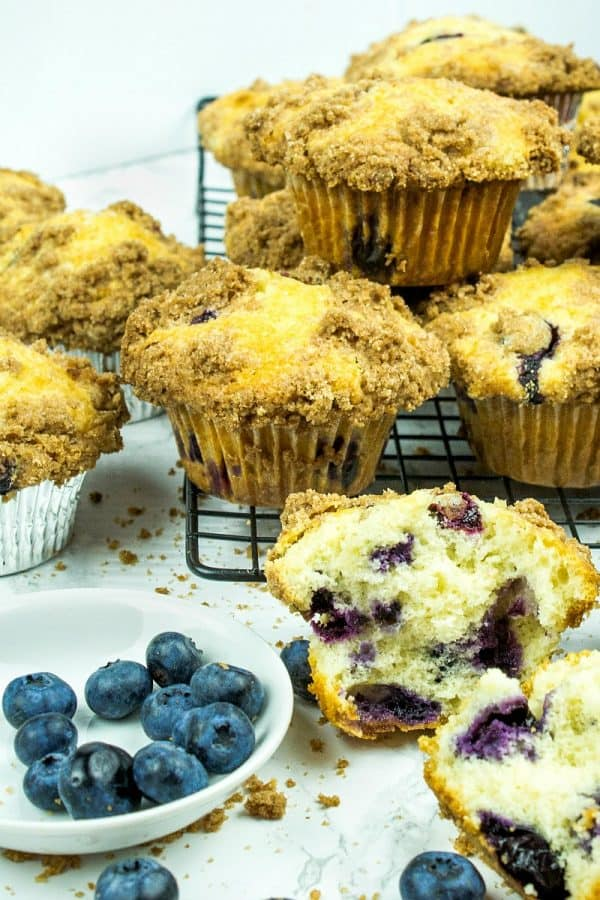 Big, Deli Style Blueberry Muffins. Streusel topped muffins that are easy to make!