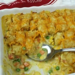 Full of chicken, vegetables and a creamy sauce that makes an irresistible family size Chicken Tater Tot Casserole freezer meal!