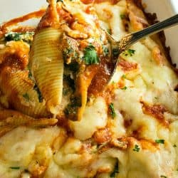 Healthy cheese and veggie stuffed shells made ahead for an easy family freezer meal.