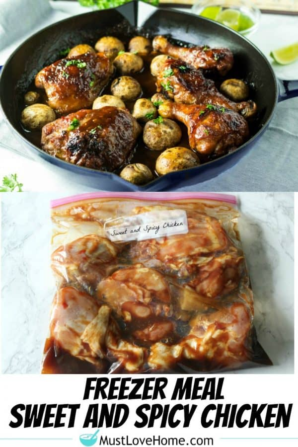 Freezer Meal Sweet and Spicy Chicken - just mix the sauce in the bag, and when thawed you have marinated, saucy, spicy chicken legs and thighs. Great for wings too!