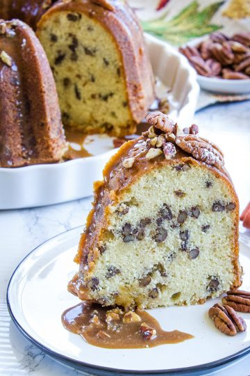 Oh so delicious Classic Southern Butter Pecan Pound Cake is a moist and tender pound cake recipe with all the butter flavor of the classic cake and a nutty crunch from buttered pecans.