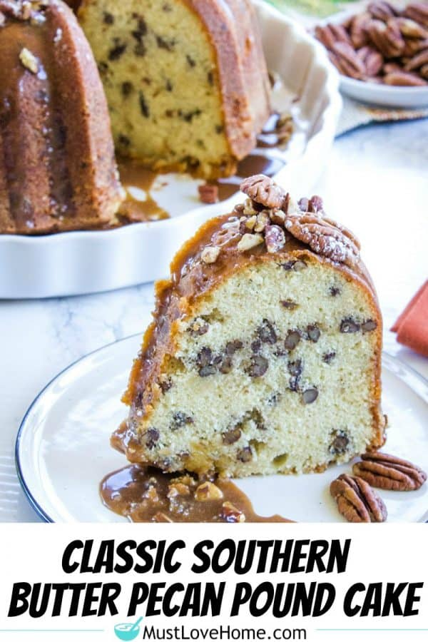 Oh so delicious Classic Southern Pecan Pound Cake is a moist and tender pound cake recipe with all the butter flavor of the classic cake and a nutty crunch from buttered pecans.