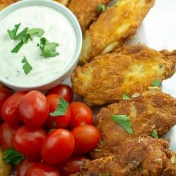 Low Carb Keto Fried Chicken Wings recipe is so EASY! Only 5 minutes of prep and 10 minutes cooking time for these amazingly crunchy chicken wings.