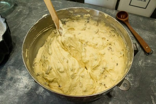 Butter Pecan Pound Cake batter ready for the cake pan.