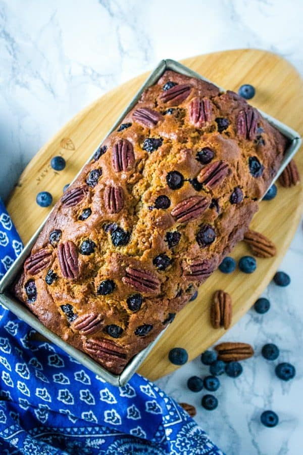 Blueberry Pecan Banana Bread - super moist and tender bread with brown sugar and yogurt flavor makes this blueberry and pecan stuffed bread the best ever.