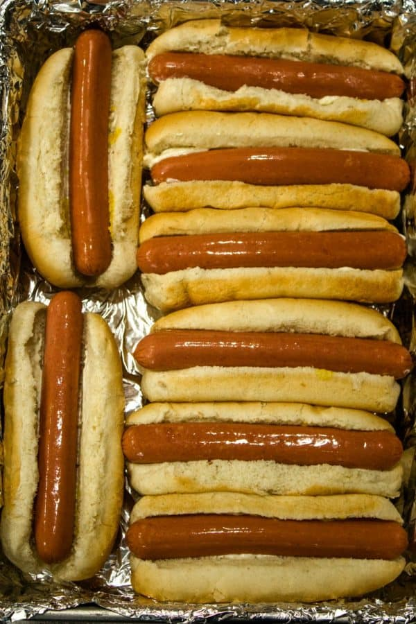 Hot dogs stuffed into buns