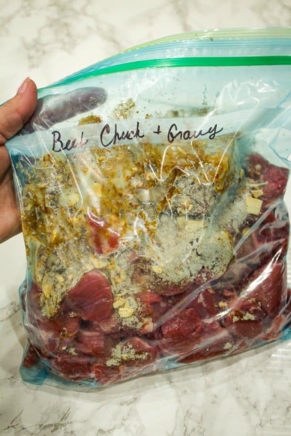 Freezer Meal Beef and Gravy bagged and ready for the freezer.