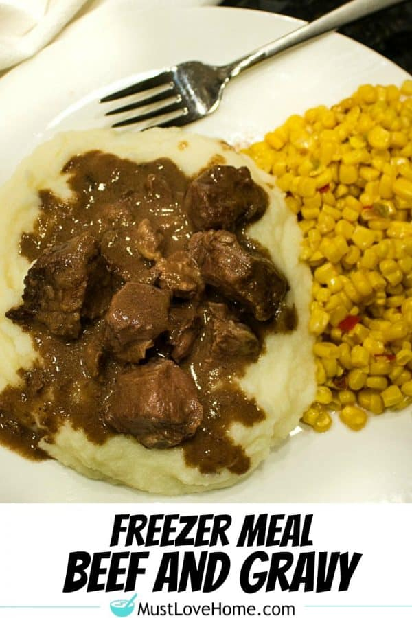 Freezer Meal Beef and Gravy - economical cubed chuck roast made with tasty onion and mushroom gravy. It's a perfect no-fuss meal.