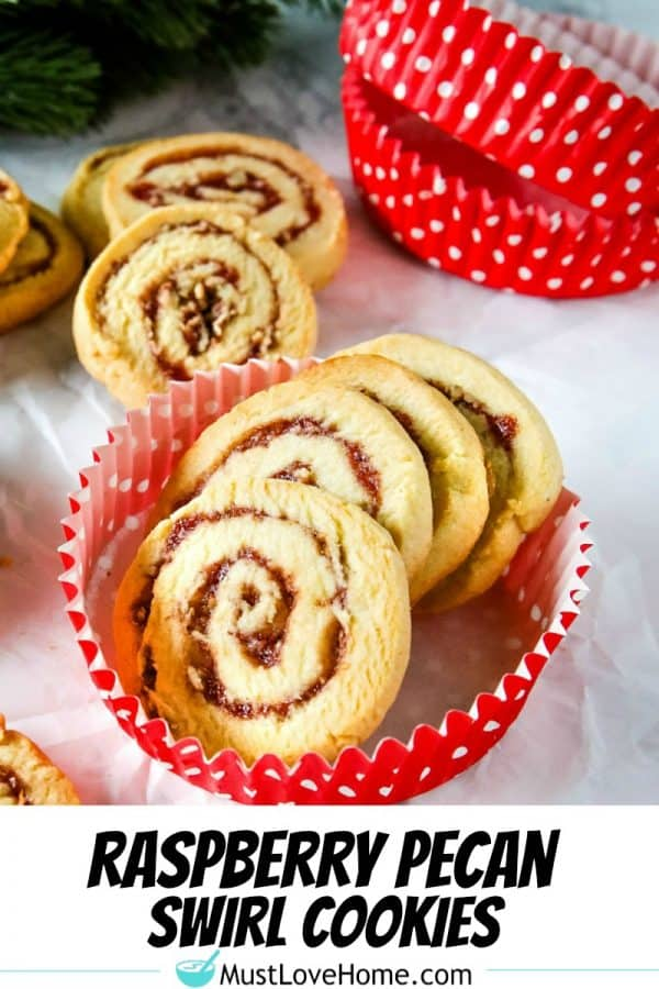 Raspberry Pecan Swirl Cookies are easy recipe sugar cookies swirled with raspberry jam and pecans. Perfect for holidays and  gift giving! #mustlovehomecooking