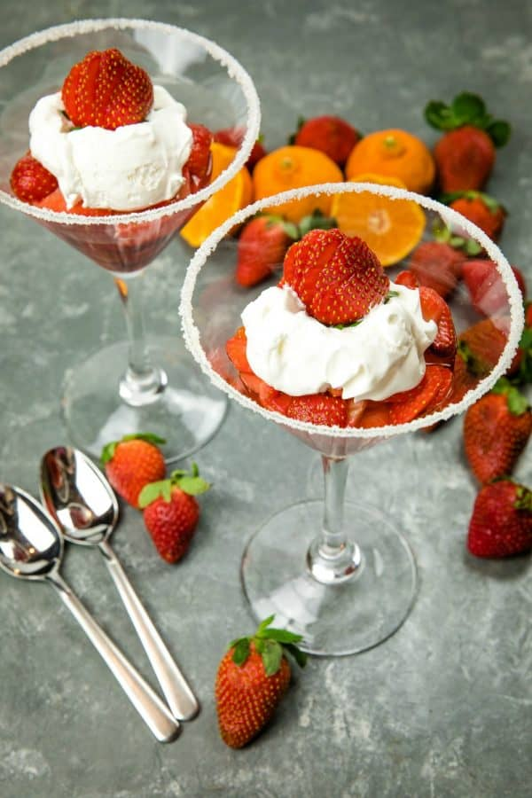 Light and naturally sweet, this Easy Strawberry Dessert for Two, with a splash of orange liqueur is like having a cocktail and dessert all in one! #mustlovehomecooking