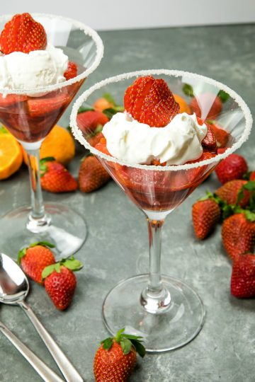 Light and naturally sweet, this Easy Strawberry Dessert for Two, with a splash of orange liqueur is like having a cocktail and dessert all in one!