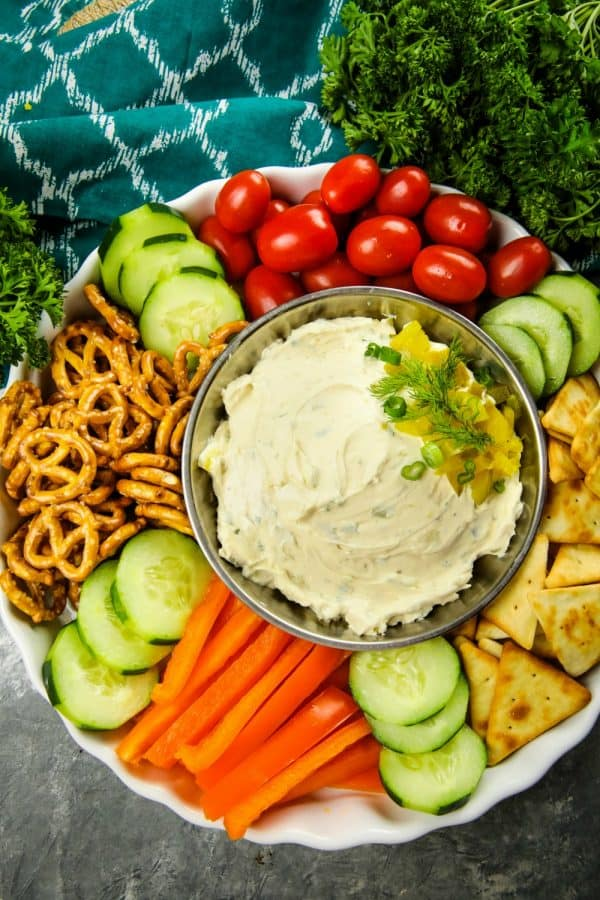 This fun and insanely addictive party dip is made with cream cheese, dill pickles and seasoning and takes only minutes to make.