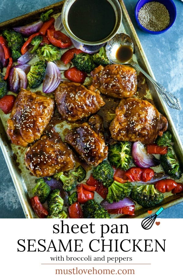 Sheet Pan Sesame Chicken with broccoli, peppers and an addictive tangy sauce.  A crave worthy alternative to take-out!#mustlovehome