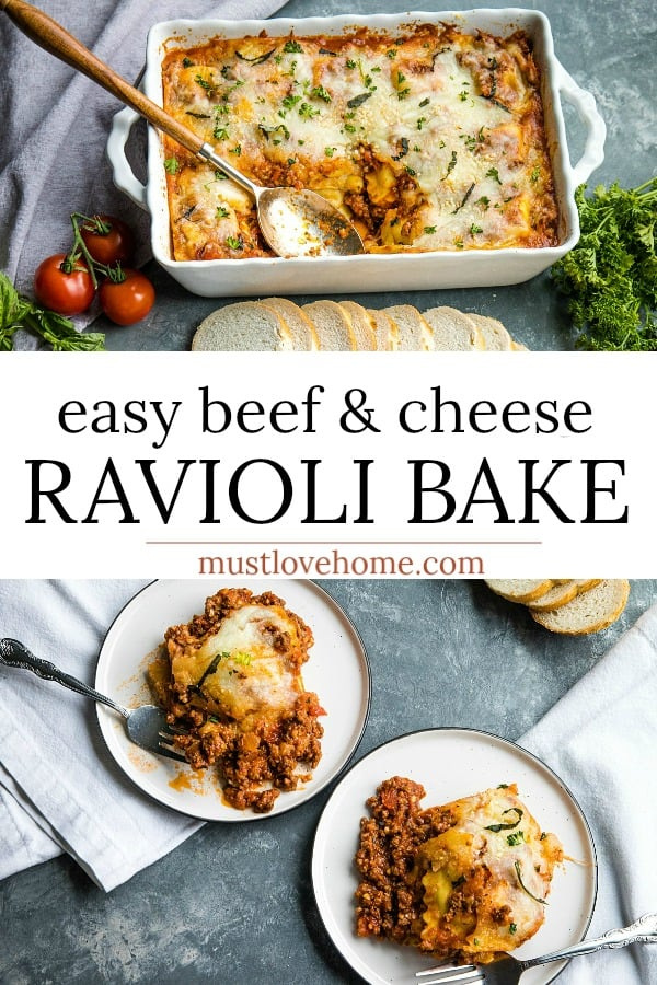 Easy Beef and Cheese Ravioli Bake is dinner made easy. It's a beefy, cheesy casserole made with 5 simple ingredients and a dash of spices. Hot from the oven in under an hour! #mustlovehomecooking