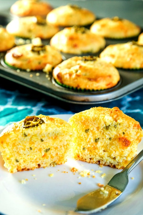 Jiffy Jalapeno Cheddar Cornbread Muffins are moist and cheesy with just the right amount of sweetness and spice.
