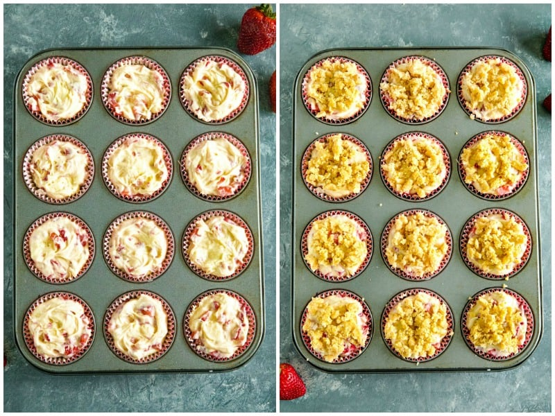 More batter and streusel layer in metal muffin pan