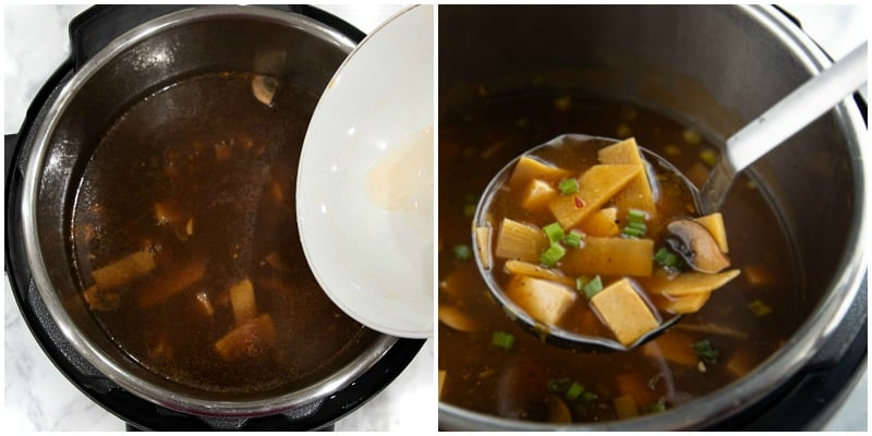 adding cornstarch slurry to instant pot and ladle of finished soup