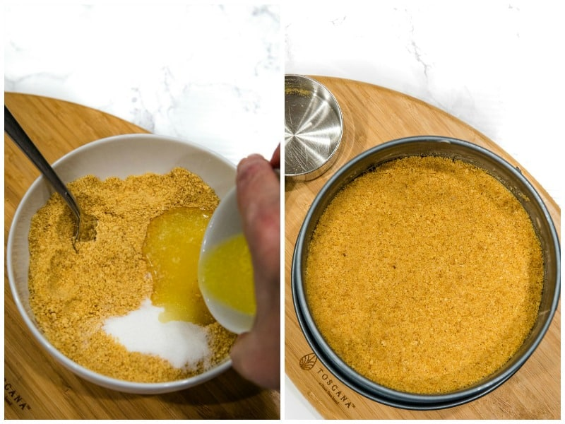 graham cracker crumbs, sugar and butter for cheesecake crust