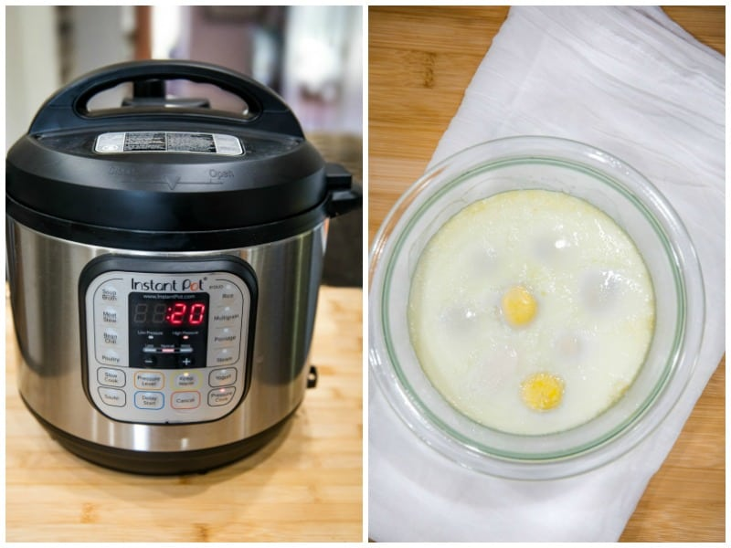 Instant Pot and cooked gard boiled eggs in a glass mixing bowl