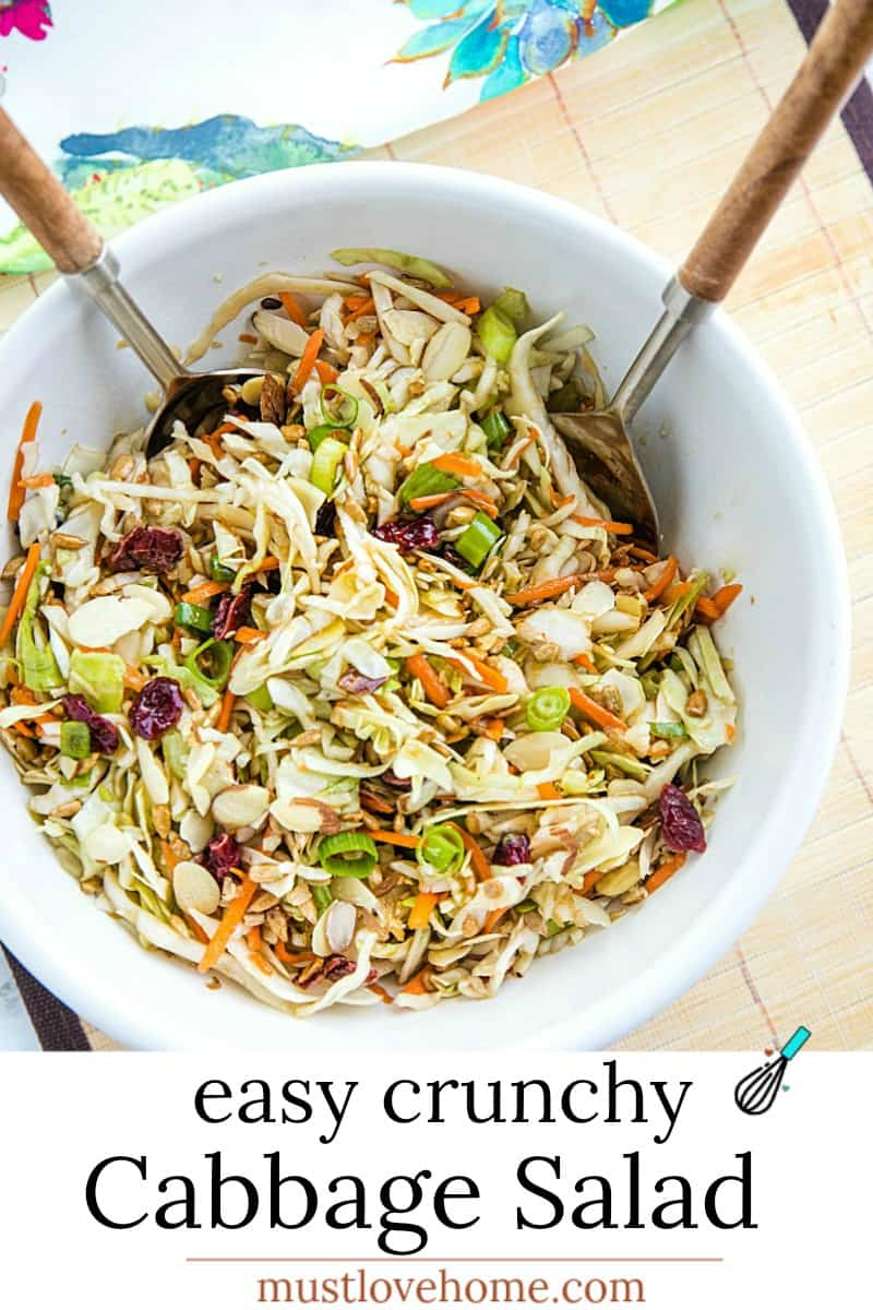 Crunchy Cabbage Salad with tangy dressing is a cool and crisp side to serve with any grilled meats and burgers. A barbecue must-have! #mustlovehomecooking
