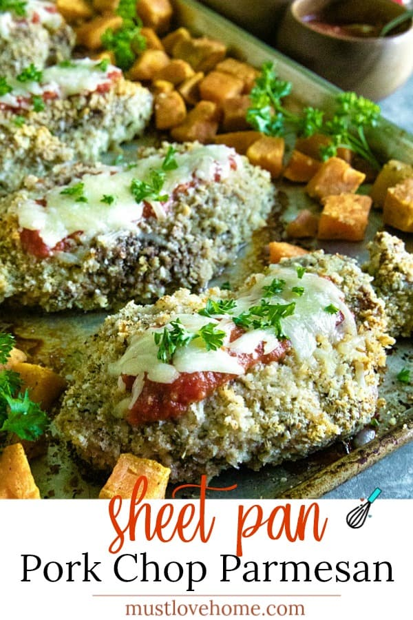 Sheet Pan Pork Chop Parmesan is an easy and complete sheet pan dinner of juicy, bread crumb and parmesan cheese crusted pork chops. #mustlovehomecooking