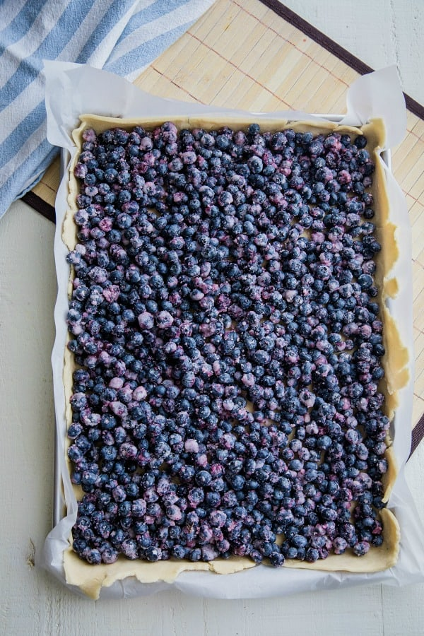 Homemade blueberry filling in a sheet pan pie crust