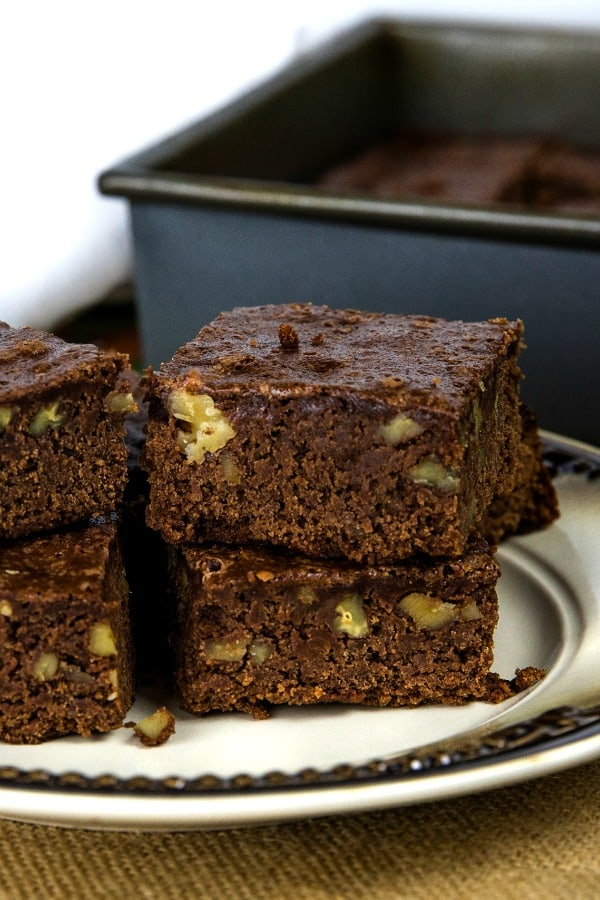Rich and dense, these Easy Fudge Brownies made with unsweetened chocolate and walnuts are the perfect balance of chewy and cakelike brownies. #mustlovehomecooking