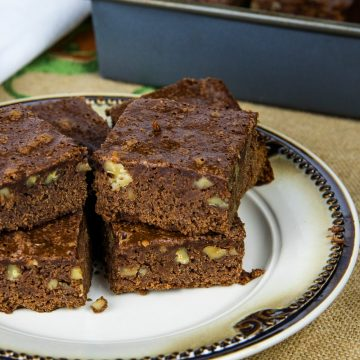 Rich and dense, these Easy Fudge Brownies made with unsweetened chocolate and walnuts are the perfect balance of chewy and cakelike brownies.